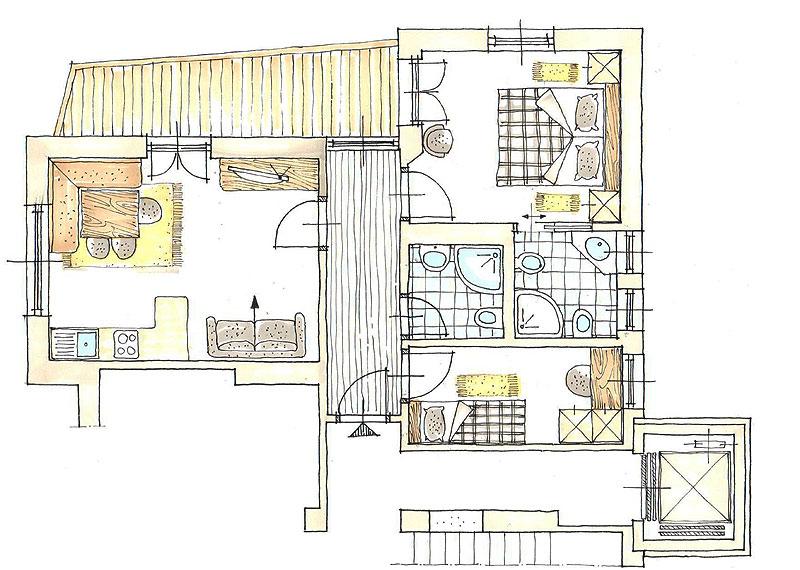 appartamento con vista panoramica - vacanze relax a ortisei - Panca Per Cucina Usata